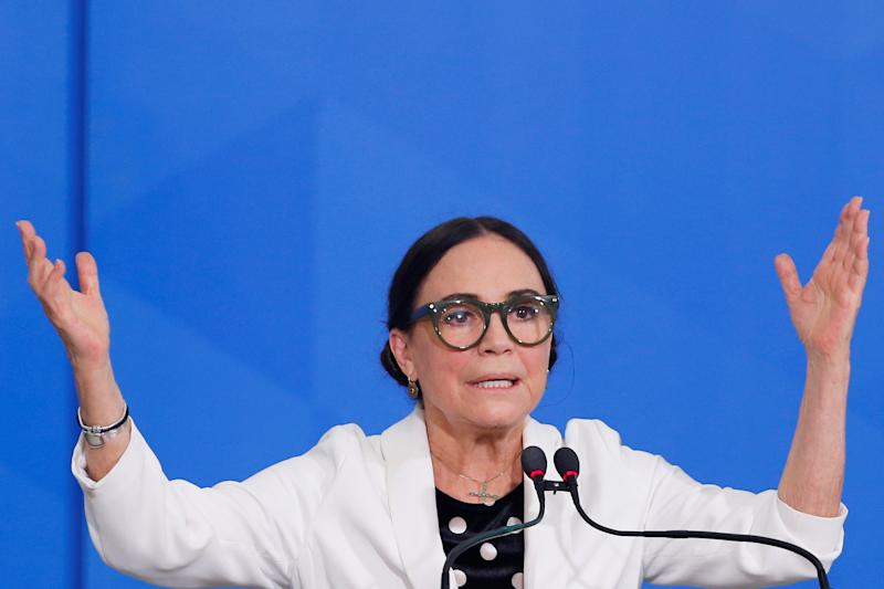 New Brazil's Culture Secretary Regina Duarte gestures during her inauguration ceremony at the Planalto Palace, in Brasilia, Brazil March 4, 2020. REUTERS/Adriano Machado