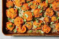 """<p>Smashing steamed carrots coated in curry powder then finishing them under the broiler lets the flavor set in and gives the carrots a light, crispy edge. <a href=""""https://www.eatingwell.com/recipe/7897578/smashed-carrots/"""" rel=""""nofollow noopener"""" target=""""_blank"""" data-ylk=""""slk:View recipe"""" class=""""link rapid-noclick-resp""""> View recipe </a></p>"""