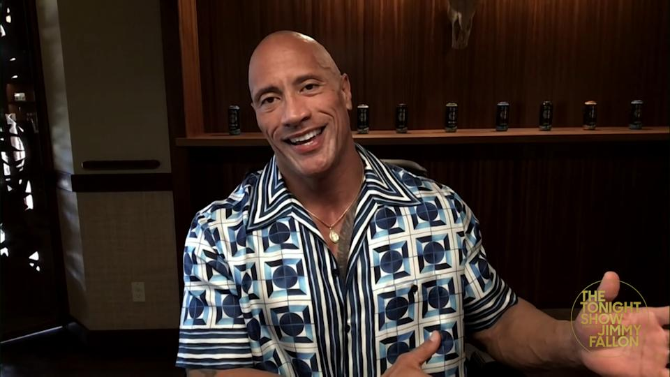 THE TONIGHT SHOW STARRING JIMMY FALLON -- Episode 1406A -- Pictured in this screengrab: Actor Dwayne Johnson during an interview on February 10, 2021 -- (Photo By: NBC/NBCU Photo Bank via Getty Images/NBCU Photo Bank via Getty Images)