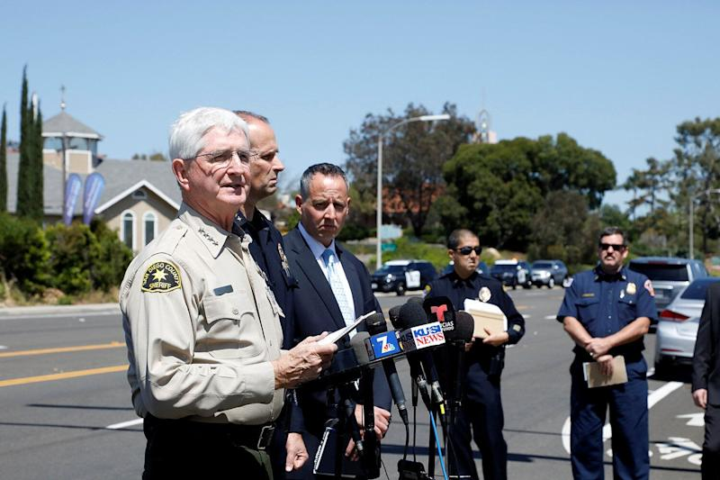 San Diego County Sheriff Bill Gore speaks at a news conference at the scene of a shooting incident at the Congregation Chabad synagogue in Poway, north of San Diego, April 27, 2019. (Photo: John Gastaldo/Reuters)