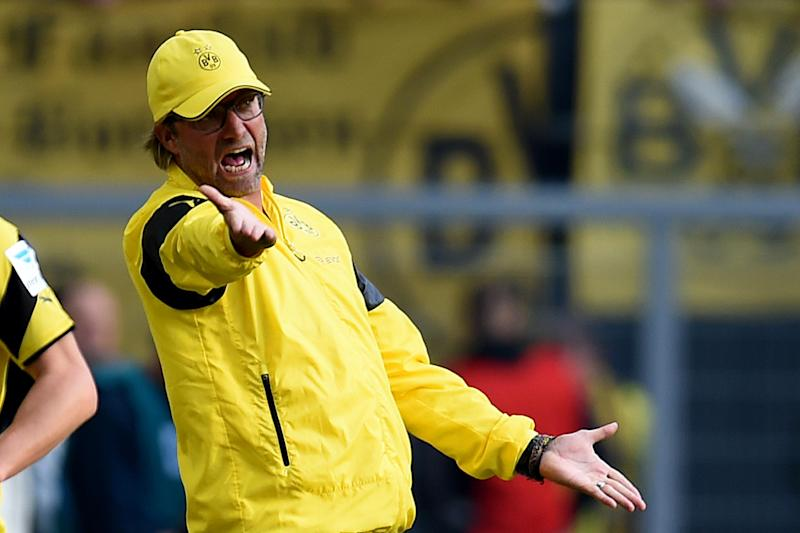 Dortmund's head coach Juergen Klopp reacts during their German first division Bundesliga match against Bayer Leverkusen, in Dortmund, western Germany, on August 23, 2014