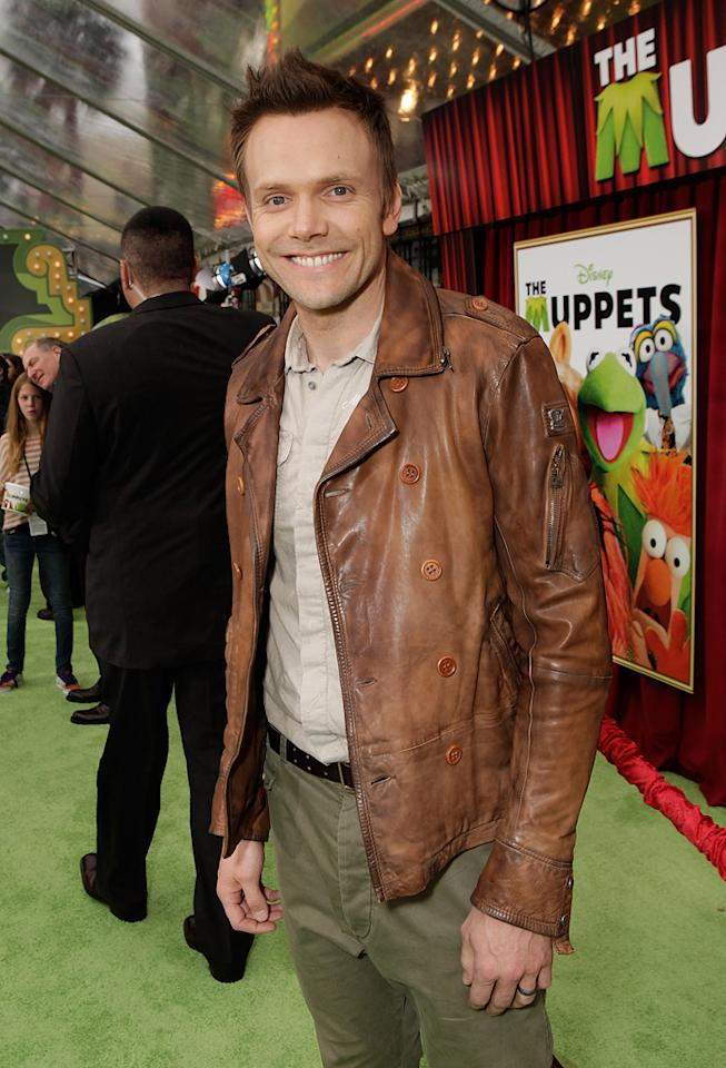 """<a href=""""http://movies.yahoo.com/movie/contributor/1807473795"""">Joel McHale</a> at the Los Angeles premiere of <a href=""""http://movies.yahoo.com/movie/1810188975/info"""">The Muppets</a> on November 12, 2011."""