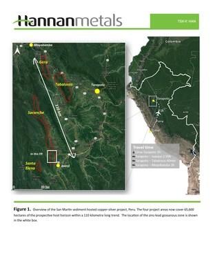 Figure 1. Overview of the San Martin sediment-hosted copper-silver project, Peru. The four project areas now cover 65,600 hectares of the prospective host horizon within a 110 kilometre long trend. The location of the zinc-lead gossanous zone is shown in the white box. (CNW Group/Hannan Metals Ltd.)