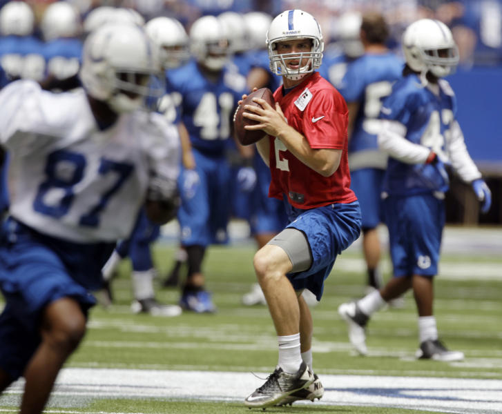 FILE- In this June 13, 2012, file photo, Indianapolis Colts quarterback Andrew Luck throws during NFL footballin Indianapolis The Colts have signed Luck, the No. 1 overall pick in the draft. The quarterback's agent and uncle, Will Wilson, confirmed Thursday, July 19, 2012, that the deal had been completed. Terms were not immediately released. (AP Photo/Darron Cummings, File)