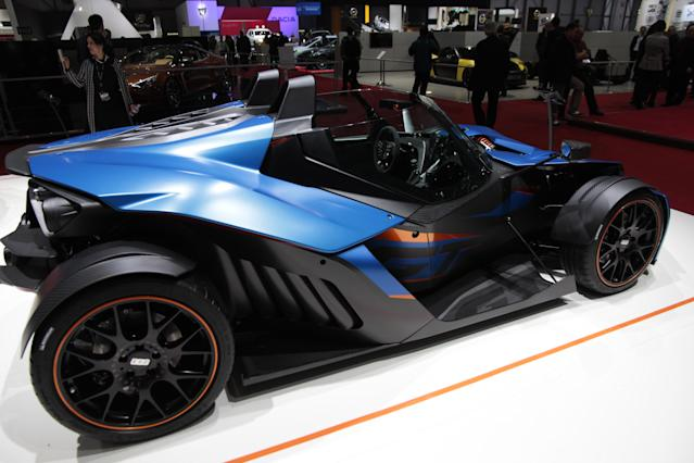<strong>KTM X-Bow GT: </strong>Yes, it now has a windscreen and windscreen wipers, but it's still the kind of car that could only come from a motorcycle manufacturer. (PA)