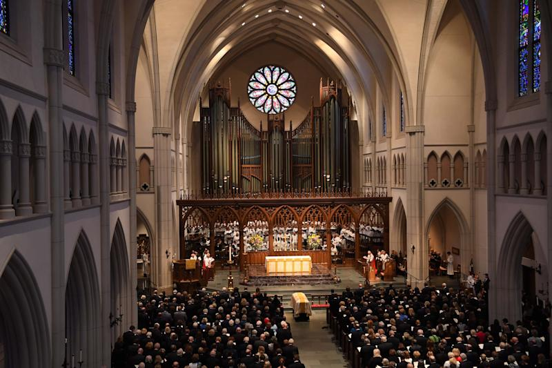 The funeral for former first lady Barbara Bush at St. Martin's Episcopal Church in Houston on April 21, 2018. (SIPA USA/PA Images)