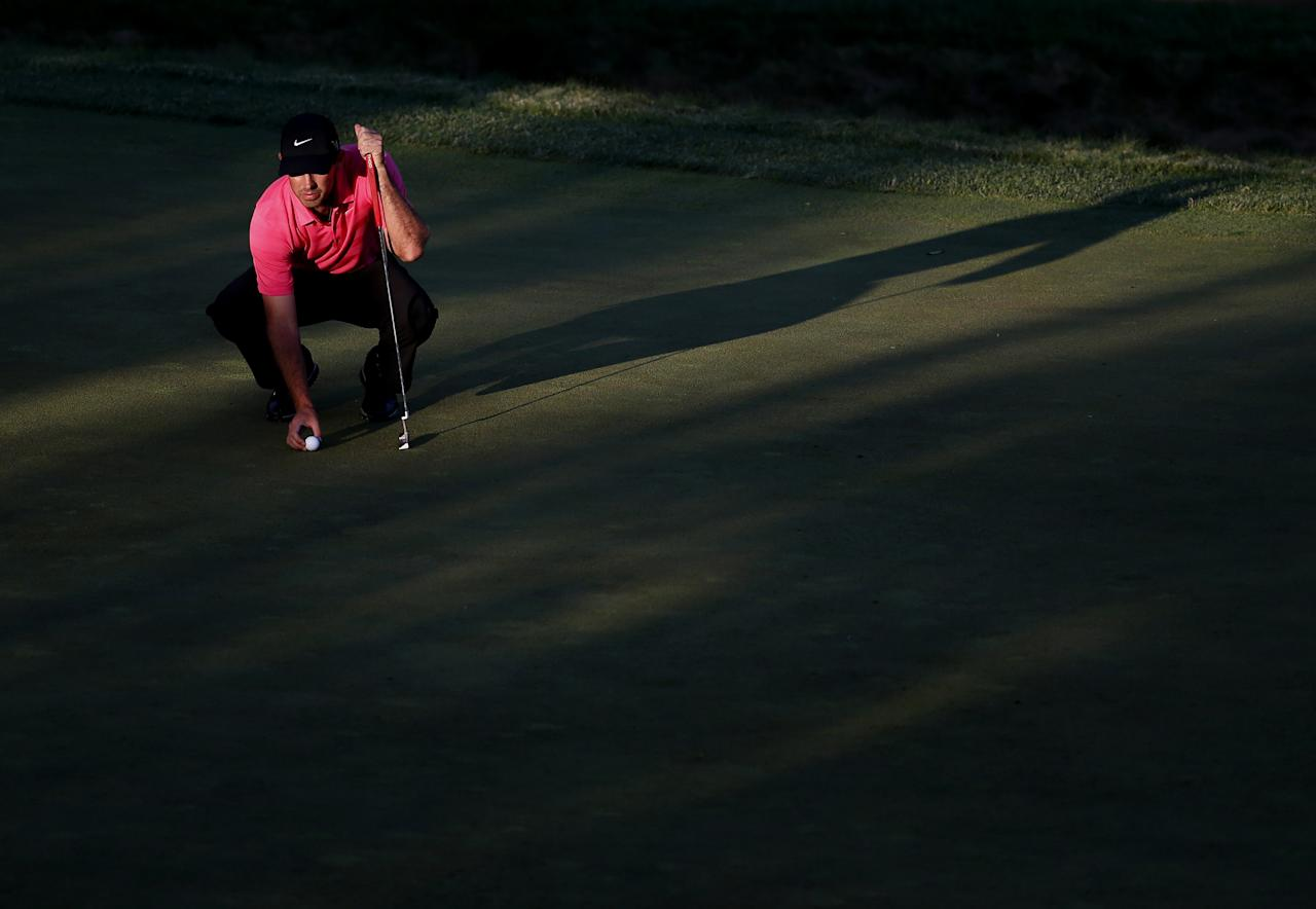 ARDMORE, PA - JUNE 14: Charl Schwartzel of South Africa lines up a putt on the 12th hole during Round Two of the 113th U.S. Open at Merion Golf Club on June 14, 2013 in Ardmore, Pennsylvania. (Photo by Rob Carr/Getty Images)