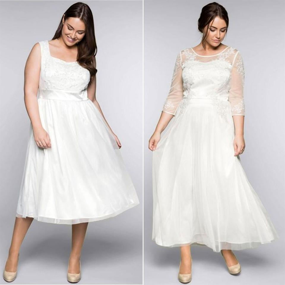 """<p><em><a rel=""""nofollow"""" href=""""https://www.cosmopolitan.com/uk/fashion/style/g4924/high-street-brands-that-sell-wedding-dresses/"""">We earn a commission for products purchased through some links in this article</a></em></p><p><a rel=""""nofollow"""" href=""""https://www.curvissa.co.uk/search/_/N-1c?searchType=FullText&Nty=1&Ntt=bridal&Search="""">Curvissa</a> has launched its debut bridal collection, and although there's only two gowns so far, we're crazy about them both. Available in sizes 18-32, the dresses are made specifically for plus-size brides and designed in comfortable, high quality fabrics. Oh, and there's also a range of wedding shoes, available up to a size 10, too. With everything in the collection less than £150, we're so sold... </p><p>(L) Embroidered bridal dress, £120, Curvissa <a rel=""""nofollow"""" href=""""https://www.curvissa.co.uk/products/embroidered-bridal-dress/_/A-64T103_18?searchResults=true"""">BUY NOW</a></p><p>(R) Floral bridal dress, £140, Curvissa <a rel=""""nofollow"""" href=""""https://www.curvissa.co.uk/products/floral-appliqu-eacute-bridal-dress/_/A-19T336_18?searchResults=true"""">BUY NOW</a></p>"""