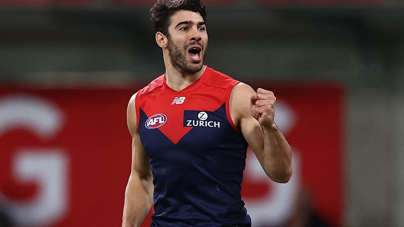 Christian Petracca is pictured playing for Melbourne in the AFL.