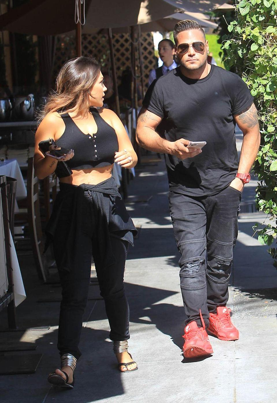 """<p>The <em>Jersey Shore</em> star and Harley welcomed daughter Ariana in April 2018. Later that year, Ortiz-Magro posted a photo and implied that Harley <a href=""""https://www.eonline.com/news/980230/jersey-shore-s-ronnie-ortiz-magro-claims-jen-hartley-gave-him-a-black-eye"""" rel=""""nofollow noopener"""" target=""""_blank"""" data-ylk=""""slk:gave him a black eye"""" class=""""link rapid-noclick-resp"""">gave him a black eye</a>. They are still famously up and down. </p>"""