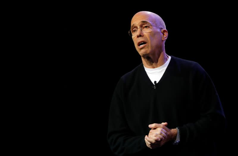 Quibi founder Jeffrey Katzenberg speaks during a Quibi keynote address at the 2020 CES in Las Vegas