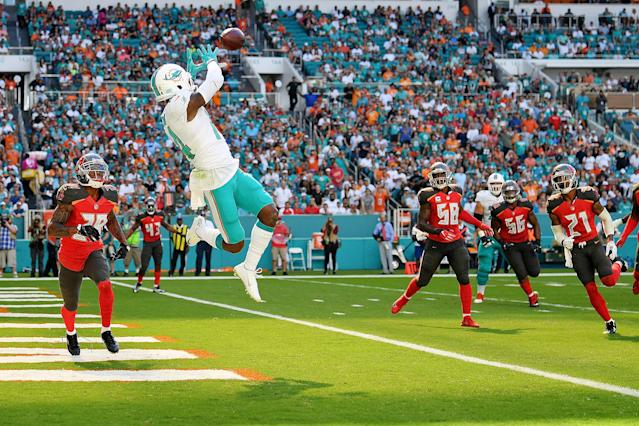 <p>Jarvis Landry #14 of the Miami Dolphins makes the catch for a touchdown in the first quarter during a game against the Tampa Bay Buccaneers at Hard Rock Stadium on November 19, 2017 in Miami Gardens, Florida. (Photo by Mark Brown/Getty Images) </p>