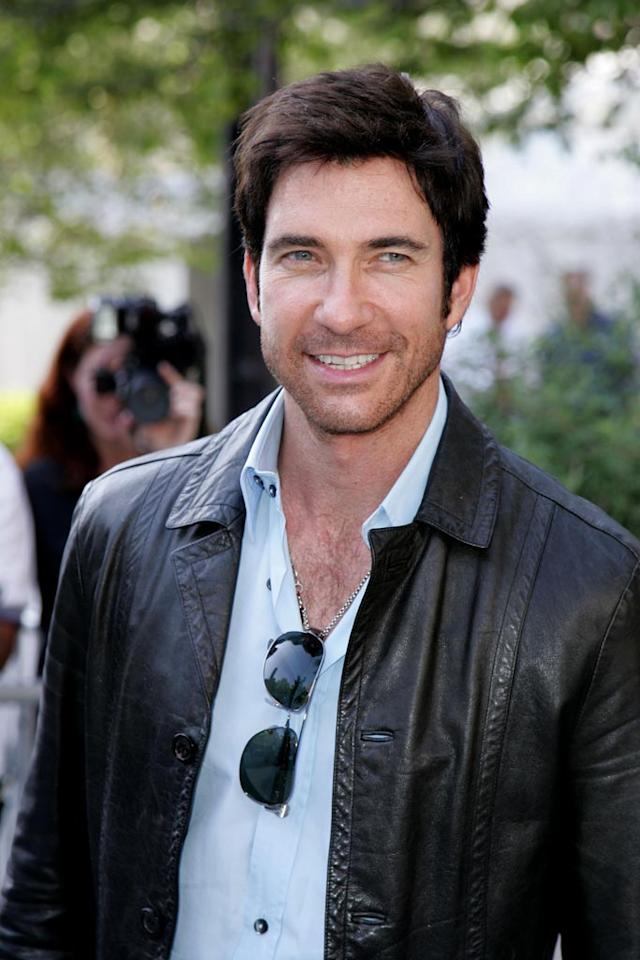 "Dylan McDermott plays it classic and cool in his black leather jacket and shades. James Devaney/<a href=""http://www.wireimage.com"" target=""new"">WireImage.com</a> - May 15, 2007"