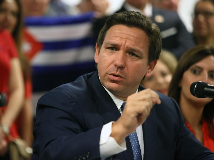 Florida Gov. Ron DeSantis takes part in a roundtable discussion about the uprising in Cuba at the American Museum of the Cuba Diaspora on July 13, 2021 in Miami, Florida. Thousands of people took to the streets in Cuba on Sunday to protest against the government. ( (Getty Images)