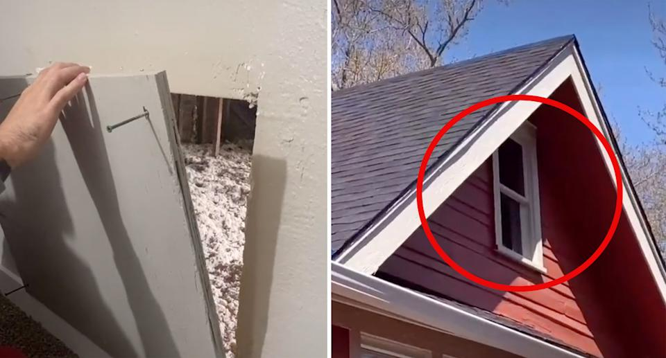 The couple removed a board of wood to access the secret room with the window. Source: TikTok/@Sissyhankshaw