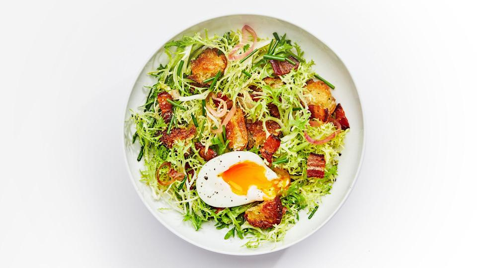 """<a href=""""https://www.bonappetit.com/recipe/frisee-salad-with-warm-bacon-vinaigrette?mbid=synd_yahoo_rss"""" rel=""""nofollow noopener"""" target=""""_blank"""" data-ylk=""""slk:See recipe."""" class=""""link rapid-noclick-resp"""">See recipe.</a>"""