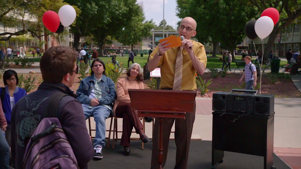 <p> The debut episode of Community introduced us to, and laid the groundwork for, a great series of interactions between unlikely friends. The opening speech by Dean Pelton is pure giggle fuel. Jeff Winger, a disbarred lawyer, inadvertently creates a study group of misfits while trying to get close to the attractive, aspiring activist Britta. </p> <p> On screen the chemistry between the group is almost instant, and it's all the camaraderie of The Breakfast Club, but with cynical and odd adults instead of attractive teenagers. The episode is actually dedicated to the late The Breakfast Club director, John Hughes. </p>