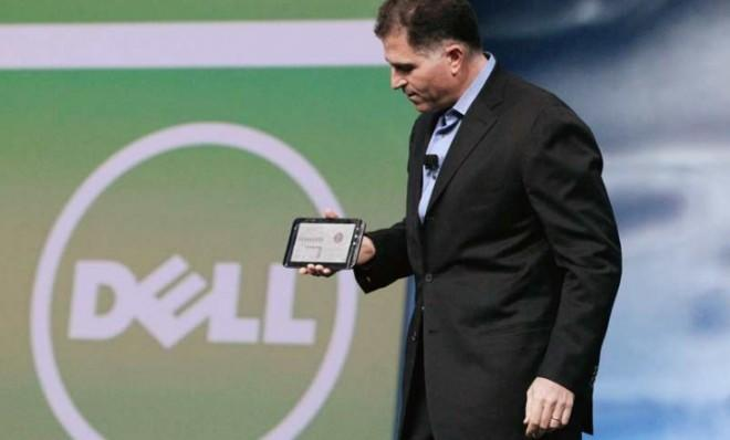 Dell CEO Michael Dell presents the company's seven-inch touchscreen tablet in 2010.