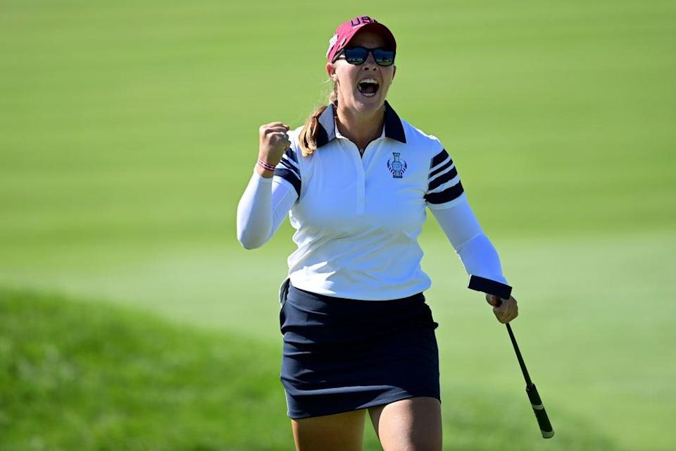 Jennifer Kupcho celebrates after a putt to win the 15th hole during the foursome matches at the Solheim Cup (David Dermer/AP) (AP)