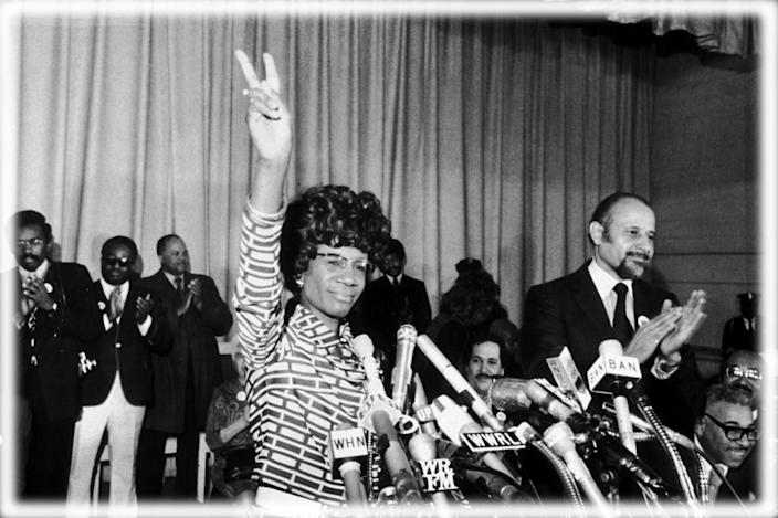 Rep. Shirley Chisholm of Brooklyn announces her bid for the Democratic presidential nomination in 1972. (Photo: Don Hogan Charles/New York Times Co./Getty Images; digitally enhanced by Yahoo News)