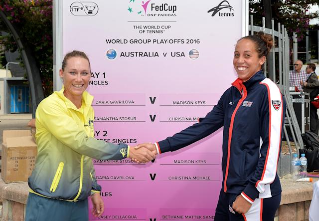 BRISBANE, AUSTRALIA - APRIL 15: Samantha Stosur and Madison Keys shake hands during the official draw for the Fed Cup tie between Australia and the United States at Southbank on April 15, 2016 in Brisbane, Australia. (Photo by Bradley Kanaris/Getty Images)