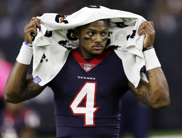 Texans QB Deshaun Watson was throwing during individual drills at the team's OTA practice on Tuesday. (AP)