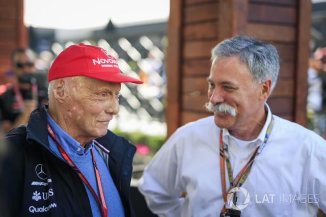 "Niki Lauda, Mercedes AMG F1 Non-Executive Chairman and Chase Carey, Chief Executive Officer and Executive Chairman of the Formula One Group <span class=""copyright"">Sutton Motorsport Images</span>"