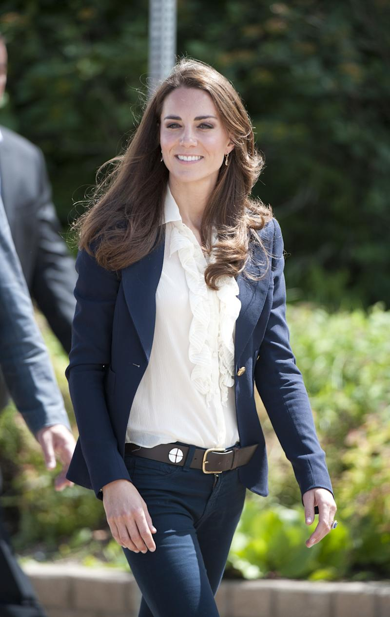 The Duchess looked chic and polished as she arrived in Alberta, Canada in May 2011.