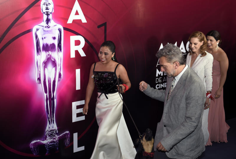 "Mexican actress Yalitza Aparicio (L) walks holding the dog ""Borras"" followed by Mexican actress Marina de Tariva at the red carpet of the 61st edition of the Ariel awards ceremony, at the Cineteca Nacional in Mexico City on June 24, 2019. (Photo by ALFREDO ESTRELLA / AFP) (Photo credit should read ALFREDO ESTRELLA/AFP/Getty Images)"