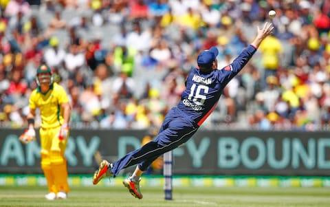 England captain Eoin Morgan attempts a flying catch - Credit: Getty Images