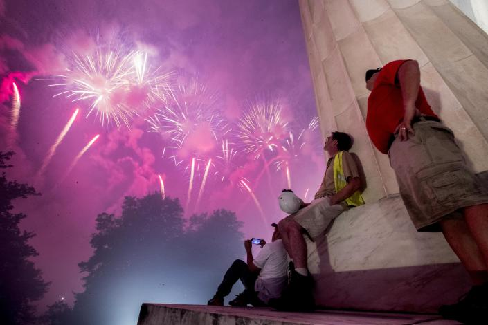 Fireworks seen from the Lincoln Memorial explode over the Potomac River for Independence Day, July 4, 2019, in Washington. (Photo: Andrew/AP Harnik)