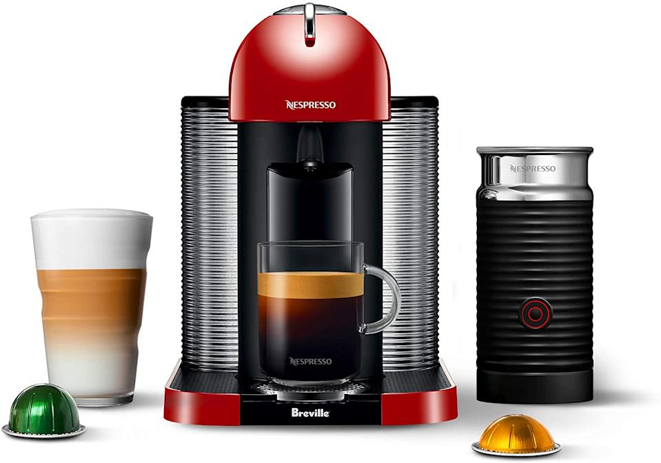 Nespresso Vertuo Machine by Breville with Aeroccino Milk Frother in red. Image via Amazon.