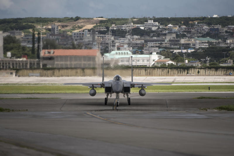 In this June 29, 2017 photo made available by the U.S. Air Force, an F-15 fighter plane taxis back to the hangar at Kadena Air Base, Japan. The Defense Department has been figuring out how to provide help and justice when the children of service members sexually assault each other on military bases since Congress required reforms in 2018. Those reforms are starting to rollout, but as one current case at Kadena shows, that rollout has been uneven. (Airman 1st Class Greg Erwin/U.S. Air Force via AP)