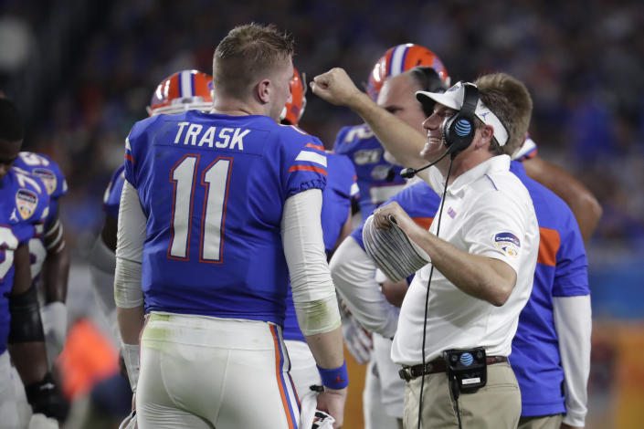 Florida quarterback Kyle Trask was voted as a preseason first-team All-SEC selection. (AP Photo/Lynne Sladky)