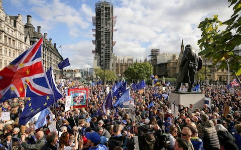 Anti-Brexit protesters fill Parliament Square in London - Credit: Jacob King/PA