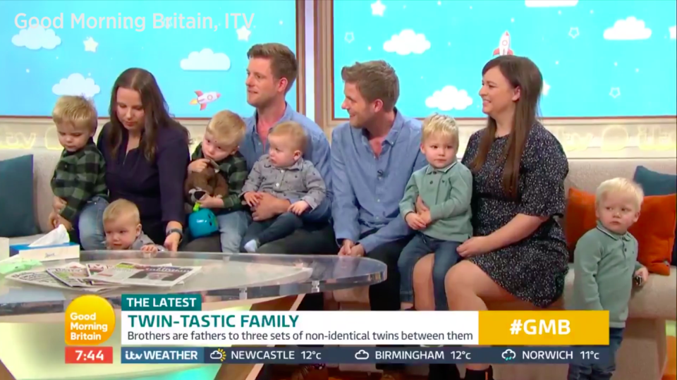 Identical twin brothers have had three sets of non-identical twin boys between them [Photo: ITV]