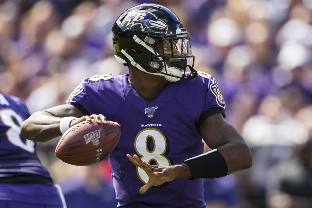 Lamar Jackson has cooled off a bit since Week 1, but the Baltimore Ravens quarterback is still showing big signs of improvement. (Getty)
