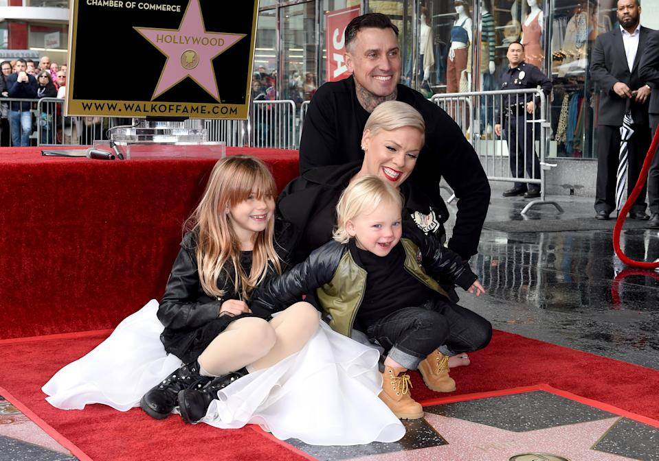 Pink and Carey Hart with their daughter Willow and son Jameson. (Photo: Axelle/Bauer-Griffin/FilmMagic)