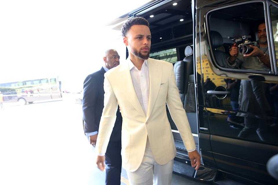 Jun 13, 2019; Oakland, CA, USA; Golden State Warriors guard Stephen Curry (30) walks into Oracle Arena prior to game six of the 2019 NBA Finals against the Toronto Raptors. Mandatory Credit:Cary Edmondson-USA TODAY Sports