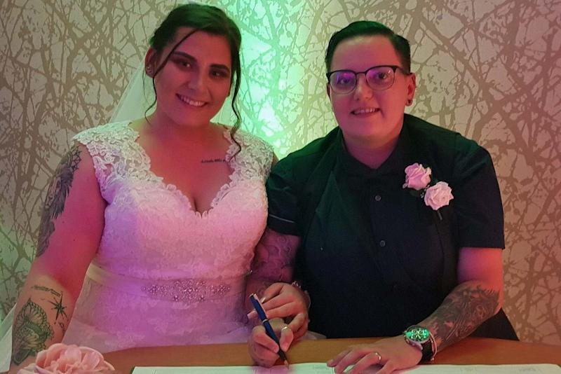 Jennifer and Louise Arnold-Wilson married at Runcorn Town Hall Registry Office at one minute past midnight: PA