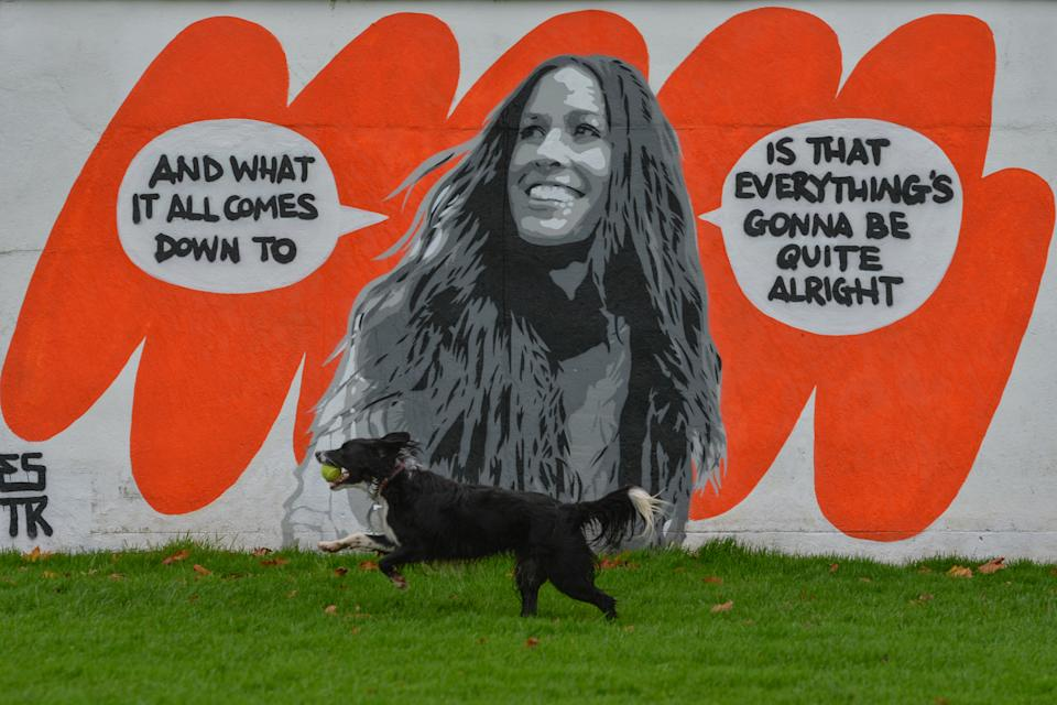A mural of Alanis Morissette by the Irish artist Emmalene Blake, located in South Dublin.  This is the latest work, a part of the 'Stay At Home' serie, encouraging people to stick to social distancing.  On Monday, November 16, 2020, in Dublin, Ireland. (Photo by Artur Widak/NurPhoto via Getty Images)