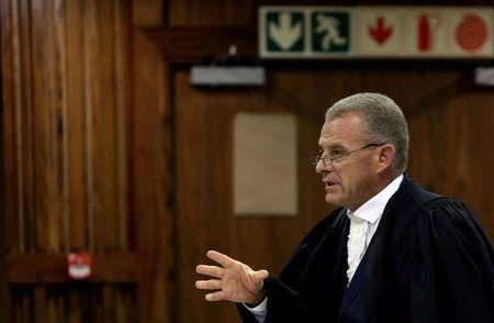 State prosecutor Gerrie Nel is seen during an appeal hearing brought by prosecutors against the six year jail term handed to Oscar Pistorius for the murder of his girlfriend Reeva Steenkamp, in Johannesburg, South Africa, August 26, 2016. REUTERS/Themba Hadebe/Pool