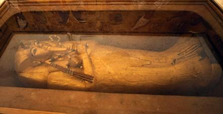 FILE PHOTO: The sarcophagus of boy pharaoh King Tutankhamun is on display in his newly renovated tomb in the Valley of the Kings in Luxor