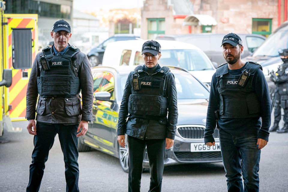 WARNING: Embargoed for publication until 00:00:01 on 13/04/2021 - Programme Name: Line of Duty S6 - TX: n/a - Episode: Line Of Duty - Ep 5 (No. n/a) - Picture Shows: *NOT FOR PUBLICATION UNTIL 00:01HRS, TUESDAY 13TH APRIL, 2021*  DS Chris Lomax (PERRY FITZPATRICK), DCI Joanne Davidson (KELLY MACDONALD), DI Steve Arnott (MARTIN COMPSTON) - (C) World Productions - Photographer: Steffan Hill