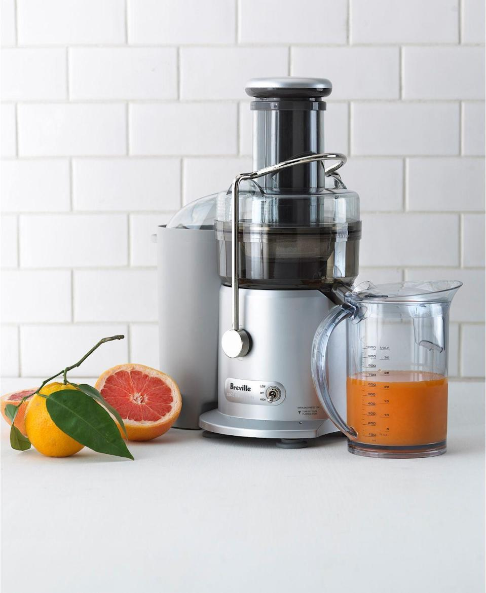 """<p><strong>Breville</strong></p><p>macys.com</p><p><strong>$187.99</strong></p><p><a href=""""https://go.redirectingat.com?id=74968X1596630&url=https%3A%2F%2Fwww.macys.com%2Fshop%2Fproduct%2Fbreville-je98xl-2-speed-juice-fountain-juicer%3FID%3D195399&sref=https%3A%2F%2Fwww.delish.com%2Ffood-news%2Fg32852340%2Fmacys-kitchen-sale-june-2020%2F"""" rel=""""nofollow noopener"""" target=""""_blank"""" data-ylk=""""slk:BUY NOW"""" class=""""link rapid-noclick-resp"""">BUY NOW</a></p><p>This Breville juicer and fountain will help you <em>finally</em> get on that juice cleanse you've been eyeing. Or it can liven up your brunch with the freshest possible OJ for mimosas!</p>"""