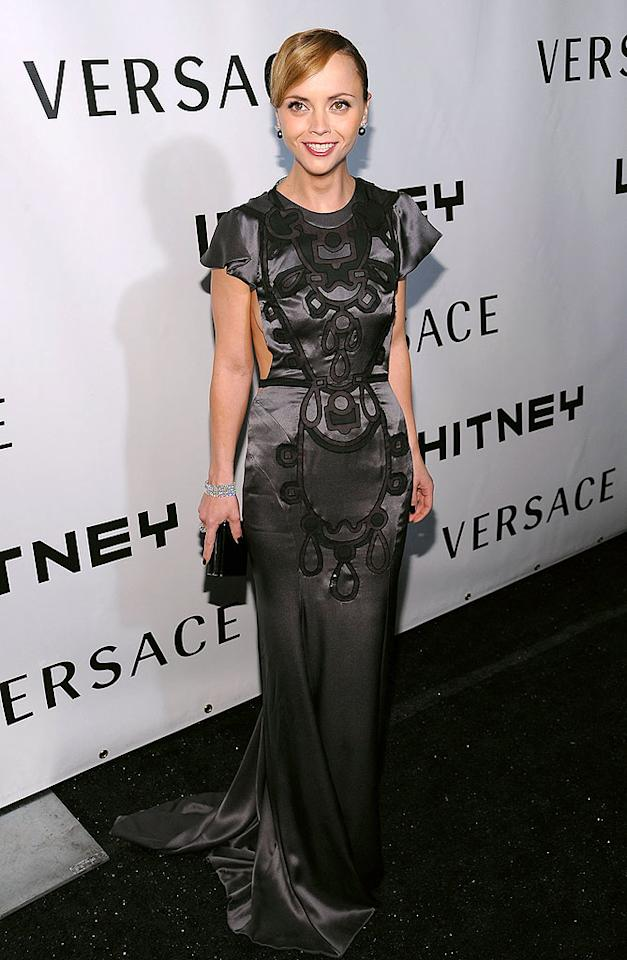 "Christina Ricci wowed the crowd at the Whitney Museum of American Art Gala when she arrived in this gorgeous gray backless gown with black embroidery courtesy of Atelier Versace. Dimitrios Kambouris/<a href=""http://www.wireimage.com"" target=""new"">WireImage.com</a> - October 20, 2008"