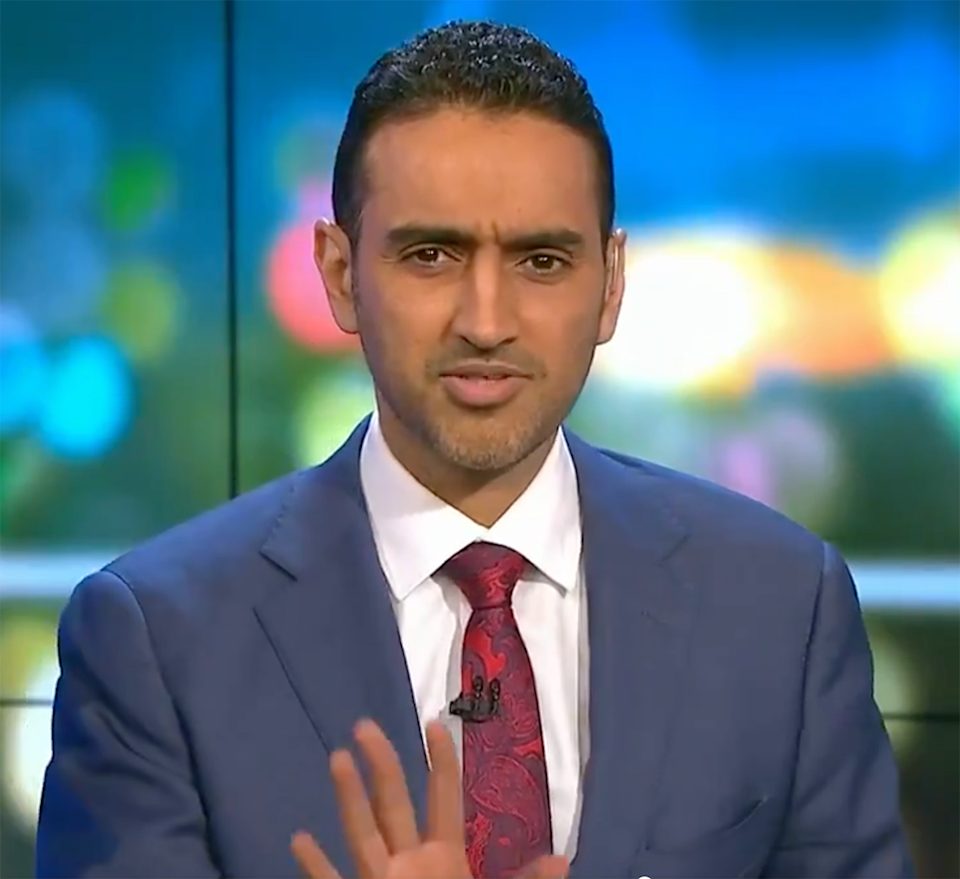 Host Waleed Aly was shocked to learn no residents at the facility had been vaccinated. Source: The Project