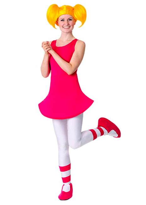 """<p><strong>Fun Costumes</strong></p><p>amazon.com</p><p><strong>$16.99</strong></p><p><a href=""""https://www.amazon.com/dp/B07J1SJRN9?tag=syn-yahoo-20&ascsubtag=%5Bartid%7C10070.g.2683%5Bsrc%7Cyahoo-us"""" rel=""""nofollow noopener"""" target=""""_blank"""" data-ylk=""""slk:SHOP NOW"""" class=""""link rapid-noclick-resp"""">SHOP NOW</a></p><p>You'll be ready to cause trouble all night as Dexter's sister Dee Dee in this adorable costume. </p>"""