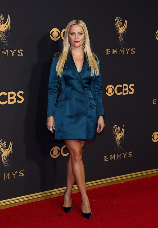 "<p>s both star and producer of HBO's ""Big Little Lies,"" all eyes were on Reese Witherspoon at the 69th Annual Primetime Emmy Awards. Witherspoon is red carpet royalty, which is why many of us were left scratching our heads when she walked the carpet in a blue Stella McCartney blazer mini-dress. Witherspoon took a risk, but it looked as though she forgot about the Emmy', threw on half of her best power suit and prayed nobody would notice she had no time to do her hair. </p>"