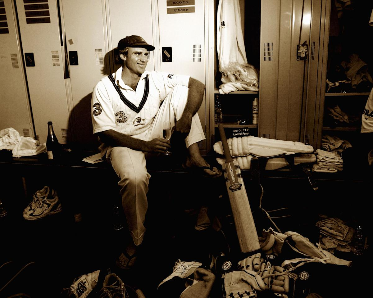 PERTH, AUSTRALIA - OCTOBER 10:  Matthew Hayden of Australia relaxes in the dressing room after scoring 380 to break Brian Lara of The West Indies world record of 375 during day two of the First Test between Australia and Zimbabwe played at the WACA Ground on October 10, 2003 in Perth, Australia. (Photo by Hamish Blair/Getty Images)